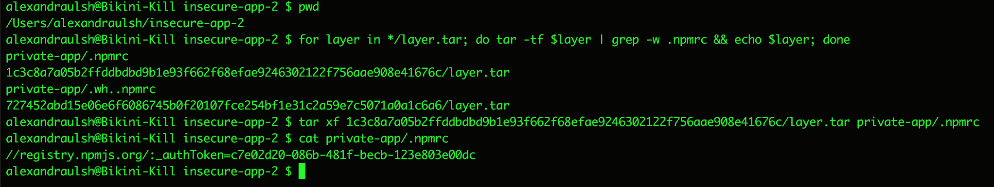 Stealing .npmrc files from Docker layers