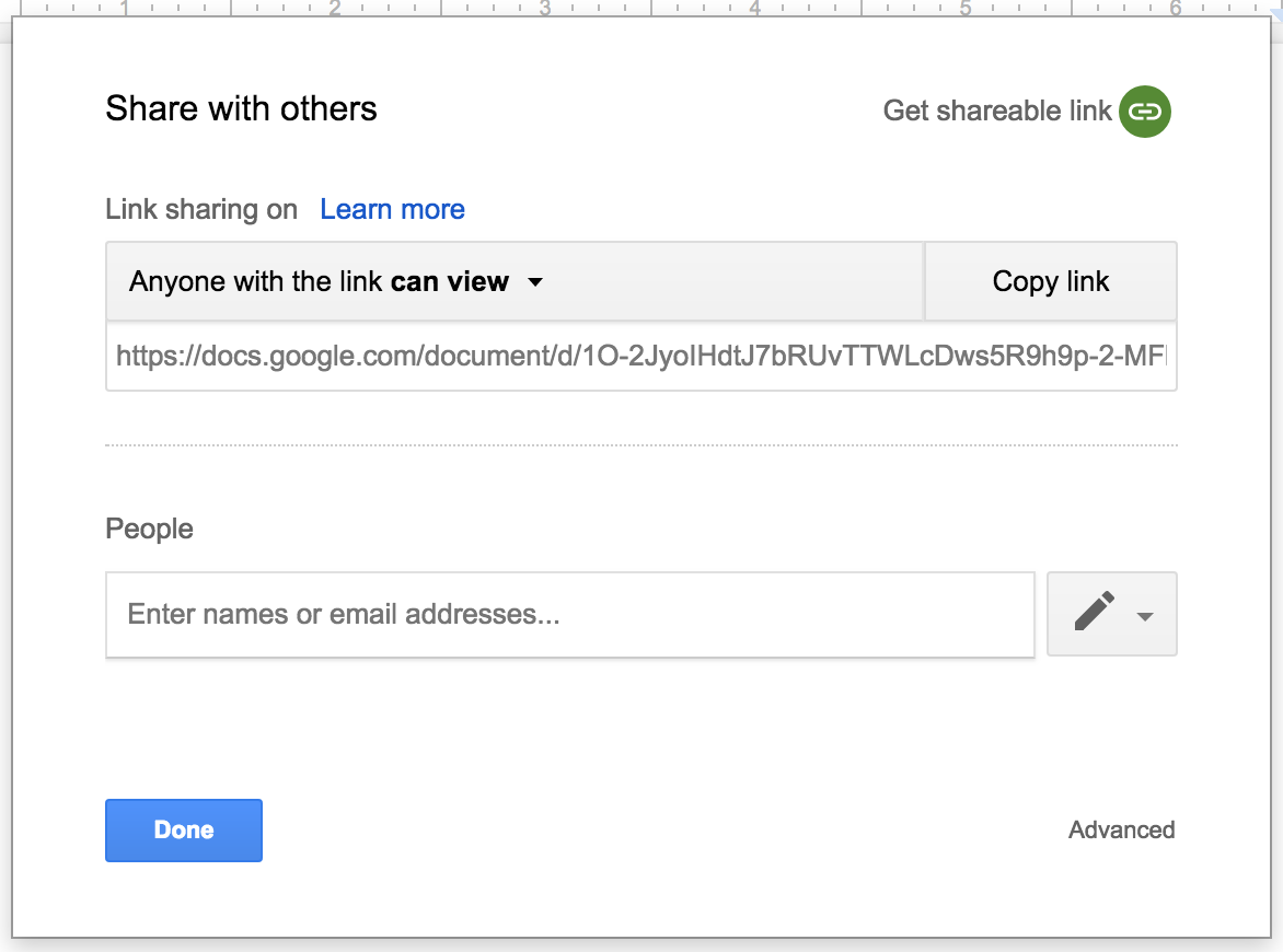 Link sharing in Google Drive